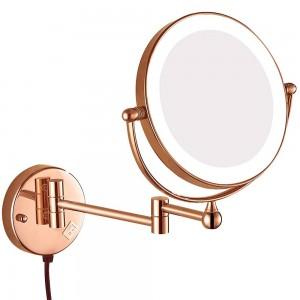 照明付き拡大壁マウント浴室化粧鏡回転延長ミラー、電気プラグ付き、拡大鏡10×7×