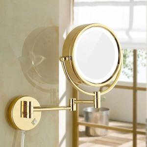 "LEDライトと10倍/ 1倍の大きさの壁に取り付けられた浴室の虚栄心ライトゴールドミラー8.5 ""で化粧鏡を剃る"