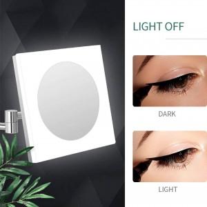LEDライトと10X / 7X / 5X倍率、クロームポリッシュ、スクエア付きウォールバス拡張可能な化粧用化粧化粧鏡