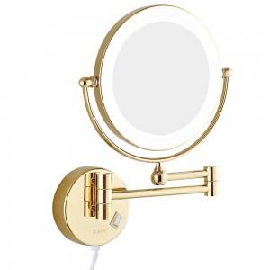 """導かれたライトおよび7x拡大鏡の剃るミラーの両面の延長回転させた金8 """"が付いている壁の台所浴室の構造ミラー"""