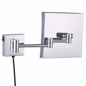 壁掛け拡大鏡バスルーム照明点灯化粧鏡額装スクエア拡張可能シェービングミラークローム