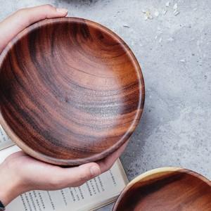 手作りの木製ボウル大小ラウンド木製ボウルサラダスープダイニングサービングボウルプレート木製台所用品食器