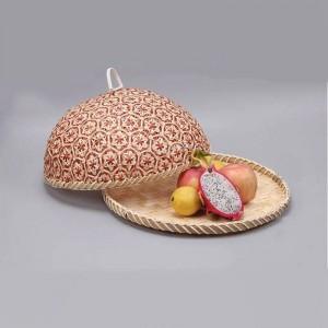 手作り竹食品フルーツ籐籐わらバスケットパン付きふたラウンドプレートキッチン収納パンオーガナイザー自然健康