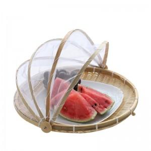 手作り竹織バグバグウィッカーバスケット防塵ピクニックフルーツトレイ食品パン料理カバー付きガーゼパニエオシエ
