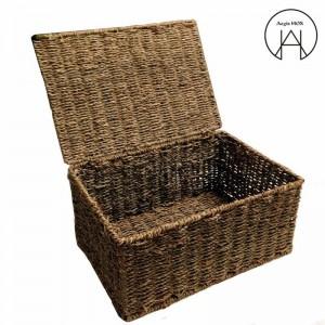 手作りの籐製の収納籠ふた竹織り仕上げ収納ボックス衣類収納ボックス変形しない防湿
