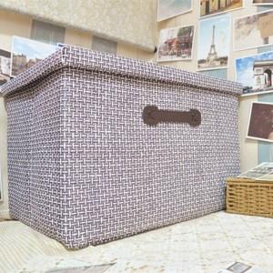 手作りわら折りたたみ収納ボックス大きな布カバー収納ボックス引き出し仕分け玩具収納バスケット51センチ* 48センチ* 31センチ