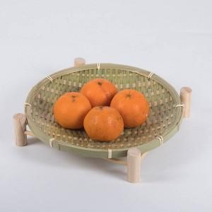 手作り織竹フルーツバスケット籐わら食品パンオーガナイザーキッチン収納装飾ギフト小皿ラウンドプレート