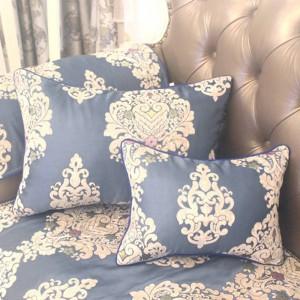 HAO JOY新しいロイヤルブルーユーロラグジュアリーチャームジャカードクッションカバー家の装飾四角い花すべて一致枕カバー