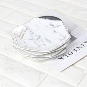 六角形の白い大理石スタイルセラミック収納プレート付きゴールデンリムシックな高級デザートフルーツジュエリー収納オーガナイザー装飾