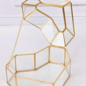 ハイグレードハート型フラワーハウスガラスジュエリー収納ボックスクラフトギフト装飾メイクオーガナイザー