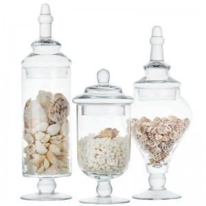 高品質キャンディジャーガラス収納ボトル透明収納タンク結婚式の装飾セットテーブルキャップ食品容器ボトル