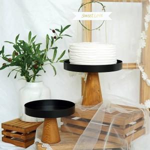 ハイスタンド木製ケーキプレート創作料理サービングトレイマルチユースエコナウラルウッドデザート/フルーツトレイ結婚式の家の装飾