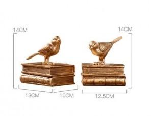 ホームデコレーションアクセサリーモダンブックエンドブックストップフェアリーガーデンヴィンテージ家の装飾金の鳥ミニチュアガーデンパリ