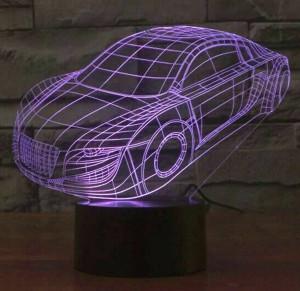 ホット販売カラフルな車3d ledランプ、usbタッチスイッチキッズナイトライト照明寝室ランプアクリル彫刻3dビジュアルナイトライト