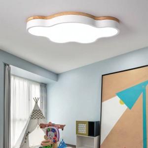 ホット偏光ledシーリングライト寝室ランプモダンで色偏光ルミナランプ子供照明器具ランプ飾りデコ付き木製