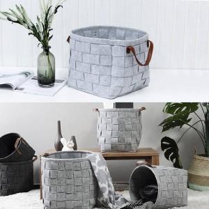 家庭用マニュアルニット収納バスケットフェルト収納袋防水暖かい保つ汚れた服のおもちゃ収納バスケット家の装飾