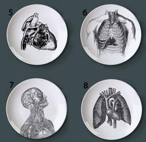 人体構造装飾板芸術的なセラミック皿クラフト白と黒の絵画プレート用ホームデコレーション研究皿