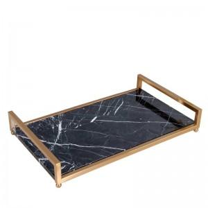 InsFashion高級黒大理石サービングトレイ、ロイヤルスタイル化粧品およびスキンケア収納トレイ用