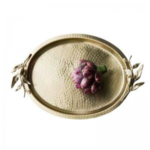 Insfashionハイエンドオーバルハンマー穀物手作り真鍮デザートトレイ用nobillaryウェディングパーティーイベントと家の装飾