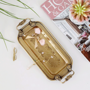 InsFashionかなり手作りの真鍮ジュエリーとモダンアメリカンスタイルの家の装飾のためのハンドル付きペン収納トレイ
