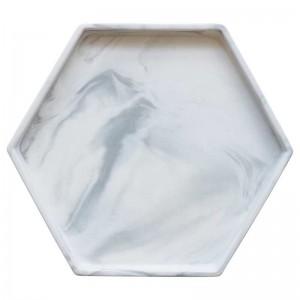 InsFashionシンプルスタイルグレーホワイト六角形大理石パターンセラミックトレイ用デンマークスタイルの家の装飾