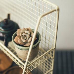 鉄二重層テーブル収納棚北欧スカンジナビア雑貨植物金属キッチン収納バスケットオーガナイザー家の装飾