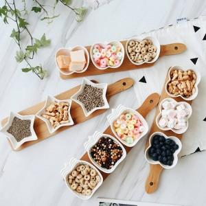 日本スタイルのフルーツの盛り合わせサービングトレイスナック/ナッツ/デザートのための創造的なセラミック皿プレートエコナチュラルバンブートレイ