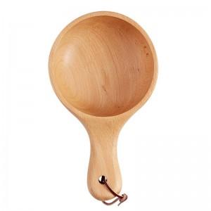 和風ロングハンドル木製サラダボウル木大フルーツピクルスサービングボウルプレート食品容器キッチン木製調理器具