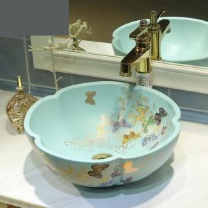 セラミックバスルーム洗面台アート盆地洗面台マットライトグリーンゴールデンバタフライパターンバスルームシンク花