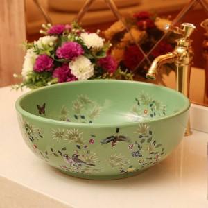 セラミック洗面台芸術的な洗面器洗面台トイレの洗面台花と鳥のバスルームのシンク
