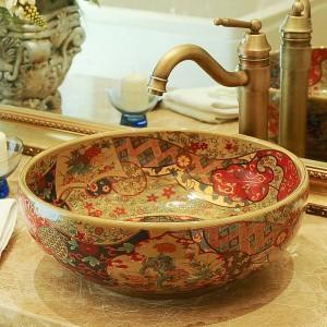 ホテルの浴室の洗面器アートのバルコニー洗面器の手の洗面器の浴室の流しのボウルアンティーク手描きのシンク