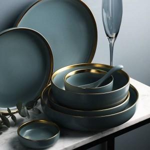 KINGLANG 2または4または6人セットゴールデンエッジプレートセラミック食器セットNEWブルーゴールデンセラミック食器セット