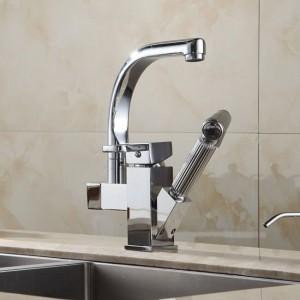キッチン蛇口真鍮クロームキッチンシンクの蛇口引き出しスイングスイベルスパウトシングルレバーデッキマウントバニティミキサータップHJ-8019
