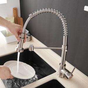 キッチンの蛇口ブラシ真鍮蛇口用キッチンシンク片レバー引くスプリングスパウトミキサータップホット冷水クレーン9009