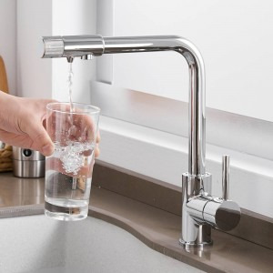 キッチン蛇口デッキマウント浄化ミキサータップ360度回転付き浄水シングルホールクレーン用キッチンLAD-0185
