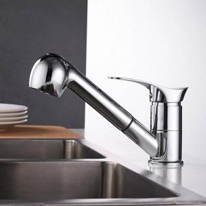 台所の蛇口Grifos de Cocina回転キッチンシンクの蛇口節水黒盆地クレーンミキサー真鍮タップLAD-7005
