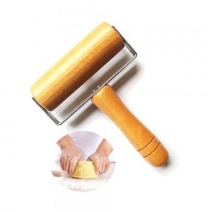 キッチン木製ローリングピン付きハンドルフォンダンケーキデコレーション生地ローラーベーキングクッキングツールキッチンアクセサリー1ピース