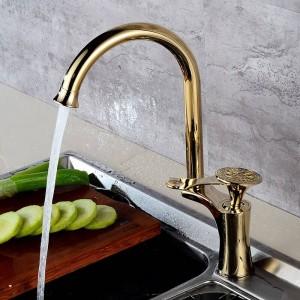 Kichen蛇口高級ゴールデン真鍮ハイアーチキッチンシンクの蛇口シングルハンドルスイベルスパウト洗面台ミキサーウォータータップDL-8105