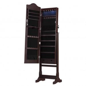 LANGRIAロック可能な永続的なジュエリーキャビネット戸棚と収納オーガナイザー付きミラーLEDライトリングイヤリング用化粧品