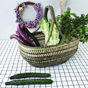 大型竹わらバスケット籐籐手作りラウンドフルーツ食品パンキッチンぶら下げ収納バスケットオーガナイザーパニエオシエ