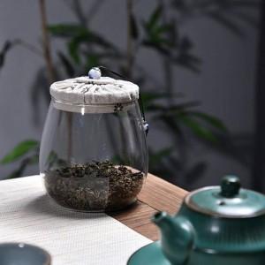 無鉛ガラス茶缶クリエイティブ布木製カバーマルチグレインドライフルーツ収納ボトルシール缶フラワーティージャーティージャーギフト