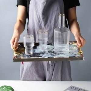 ライト高級銅ハンドルガラストレイ収納トレイ家の装飾プレート茶セットシャーシ雲パターン