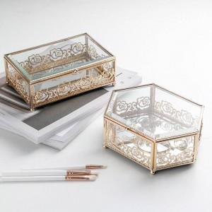 ライト高級ガラスゴールドメッキ錬鉄製のジュエリーボックスホームクリエイティブレース収納ボックス寝室のデスクトップ仕上げボックス