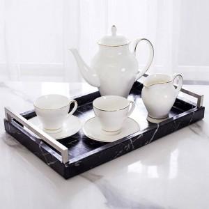 ライト高級ホーム北欧長方形大理石パターントレイジュエリー収納トレイ茶トレイ古典的なアンチ作られた大理石パターン