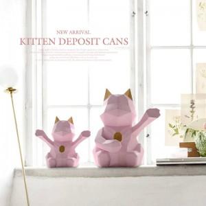 ラッキー猫の置物装飾かわいい貯金箱猫家の装飾ギフト現代幾何学的な猫コインボックス収納貯金箱用子供ボックス