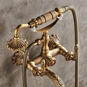 高級アンティーク真鍮浴室の蛇口ミキサータップ壁掛けハンドヘルドシャワーヘッドキットシャワーの蛇口セットXT 334