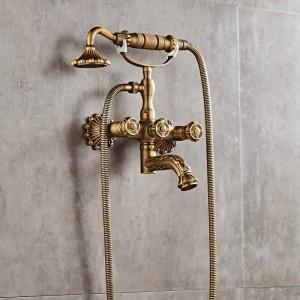 高級アンティーク真鍮浴室の蛇口ミキサータップ壁掛けハンドシャワーヘッドキットシャワー蛇口セットXT335