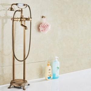 高級アンティーク真鍮浴室フロアマウントフリースタンディングバスタブ蛇口シャワーセット浴槽フィラーミキサータップ用浴室XT 380