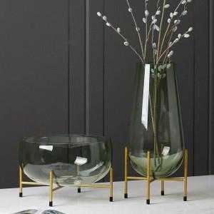 高級ガラス花瓶デザイナーフルーツプレート現代ミニマリスト透明花瓶家の装飾クリエイティブ装飾ギフト