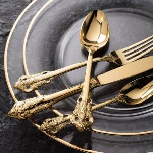 高級ゴールデン食器セットゴールドメッキステンレス鋼カトラリー結婚式食器ダイニングナイフフォーク大さじ